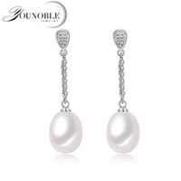 натуральный жемчуг серьги падение оптовых-Wedding hanging long earrings for women,natural freshwater pearl earrings silver 925 jewelry real 8-9mm water drop pearls box