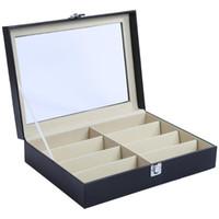Wholesale Jewelry Ring Watch - 8 Grids PU Leather Watch Case Storage Organizer Box Luxury Jewelry Ring Display Watch Boxes