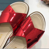 Wholesale Women Beach Shoes Design - Top Luxury Women Sandals Original Quality Shoes with Box Casual Slippers Design Flat Slide Italy P Brand by Free Shipping