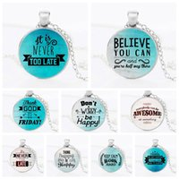Wholesale happy easter gift - Never too Late Be Happy Work Hard Believe Inspiration Necklace Silver Glass Cabochon Necklace Pendant Fashion Jewerly Drop Shipping