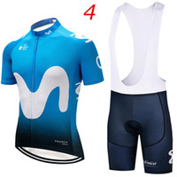 Wholesale 2018 Movistar short sleeve cycling jersey sets Spring Autumn Tour de France Bisiklet wear bike maillot ropa ciclismo Bicycle MTB D pad