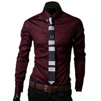 uzun siyah gömlek elbisesi toptan satış-Erkekler Ekose Gömlek Marka 5XL Yeni Erkekler S Katı Gömlekler uzun Kollu Fit Slim Casual Siyah Beyaz Sosyal Erkek Giyimi Chemise Homme