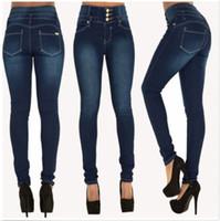 ingrosso caldo pantalone jeans donna-Hot Donna Jeans Donna Denim Skinny Jeggings Jeans Pantaloni a vita alta Stretch Slim pantaloni a matita