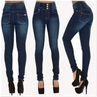 sıcak ince toptan satış-Sıcak Kadınlar Bayanlar Kot Kadın Kot Sıska Jeggings Kot Pantolon Yüksek Bel Streç Ince Kalem Pantolon