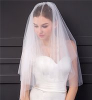 Wholesale wedding veil prices - Simple Style Bridal Veils 2T Cut Edge Elegant Soft Tulle 2018 Real Pictures Wholesale Price White Ivory Short Wedding Veils