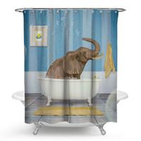 ducha estilo clásico al por mayor-150x180 cm, 175x180 cm cortina de ducha de poliéster baño bebé elefante 3D Waterfall baño paisaje impermeable cortina de baño hippie cortina