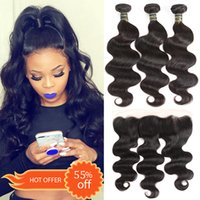 Wholesale hair weft online - Brazilian Virgin Hair Bundles with Lace Frontal Closures Straight Body Water Deep Wave Kinky Curly Human Hair Weave Bundles with Closure