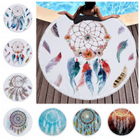 Wholesale handmade tapestries resale online - 150cm Dreamcatcher Microfiber Tassel Beach Towels Round Tapestry Wind Chime Dream Catcher Swimming Feather Towel Kids Blanket AAA721