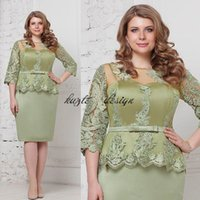 Wholesale mint green chiffon plus size dresses resale online - Fashion mint Plus Size Peplum Mother of The Groom Bride Dresses with Sleeves Jewel Lace Stain Knee length Mother Occasion Formal Dress