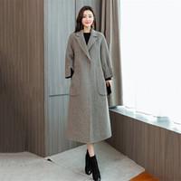 ingrosso semplice cappotto lungo donna-Cappotti di lana delle donne 2018 Autunno Inverno Nuovo Capispalla Moda donna semplice colore solido giacche di lana femminile giacca lunga cappotto NO555