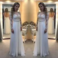 Wholesale sexy beach style wedding dresses online - 2018 Gorgeous Romantic Country Style Lace Chiffon Wedding Dresses Pleats Appliques Sheer Long Sleeves Bridal Gowns Cheap Summer Vestidos