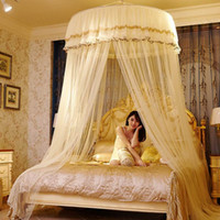 Wholesale canopies netting for beds online - Big Size Double Lace Hung Done Mosquito Net Round Bed Canopy Netting For Adults Girls Room Decor Bed Tent Mesh Curtain Bulk moustiquaire