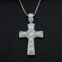 Wholesale titanium chains for men resale online - Hip Hop Cross Pendants Necklaces Titanium Stainless Steel Rhinestone Iced Out Bling Pendants Necklaces For Men Jewelry Christmas Gift