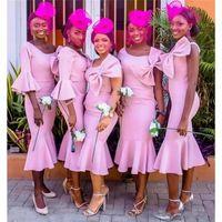 zarif pembe çay uzunluğu elbiseleri toptan satış-Büyük Yay Ile afrika Pembe Çay Boyu Mermaid Gelinlik Modelleri Zarif trompet onur elbiseler hizmetçi kısa Düğün Törenlerinde Artı Boyutu