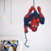 adesivo de parede removível spiderman venda por atacado-Barato Naughty Spiderman dos desenhos animados para quartos de crianças poster do quarto do menino personalizado adesivos de parede removível decalques do quarto