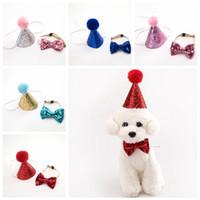 roupas do partido do cão venda por atacado-Pet Cat Cão Glitter Hat Filhote de Cachorro Feliz Festa de Aniversário Bow Tie Cap Headwear Fancy Costume Outfit Pet Suprimentos FFA619