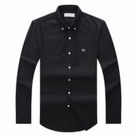marka gömlek uzun erkek toptan satış-2018 19 sonbahar kış erkek Tasarımcı OXFORD Elbise gömlek erkek Uzun Kollu casual timsah sosyal gömlek moda ABD Marka CL polo gömlek