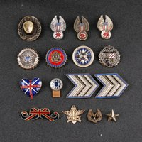 Wholesale medals brooch - Badges Cowboy Style Medal Pins Eagle Sun Beard Wheat Five-Pointed Star Brooch Pin Clothing Needle Men Suit Harajuku Broches