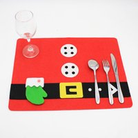 Wholesale table mats decoration - Christmas Cute Decorations 2 Styles Restaurant Table Ornaments Decor Table Mat Xmas Dinner Kinfe Fork Set Gift Wraps