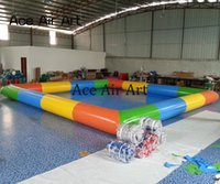 Wholesale inflatable rentals resale online - colored inflatable water pool pup up swimming pool rental with free CE UL blower and repair kits