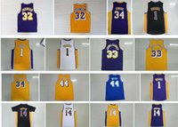 Wholesale Brandon Shirts - Retro Shirt 1 D Angelo Russell 44 Jerry West 14 Brandon Ingram 34 Shaquille O Neal 44 Jerry West 33 Kareem Abdul Jabbar Throwback Jersey