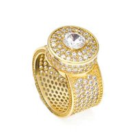 Wholesale White Zircon Ring Gold - Mens hip hop jewelry gold plated Zircon big rings European and American style copper hiphop rings accessories