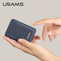 bateria externa mini usb venda por atacado-Mini banco do poder 10000 mah usams luz dual usb ultra-fino carregador de bateria externa portátil powerbank para iphone x 6 xiaomi mi8