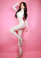 fantasia branca de corpo inteiro venda por atacado-Tamanho adulto Unisex Sexy Lace branco Full Body Zentai Catsuit Traje Unitard Collant Não Capuz Mãos