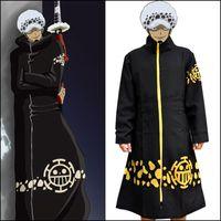 tek parça kanuni kıyafetler toptan satış-Trafalgar D Su Kanun Uzun Pelerin Takım Anime One Piece Cosplay Kostüm Cerrah