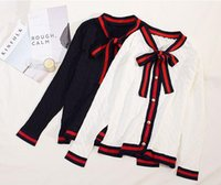 Wholesale Cute Long Sweaters - New spring autumn fashion women's casual college preppy style cute bow collar long sleeve coarse wool knitted knitted sweater cardigan