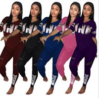 Wholesale Pink Cycling Shorts - PINK Letter Women Sports Suits Pants T-Shirts Short Sleeve V-neck Sets Print Sequins Tees Tops Shirts Trousers Leggings S-XXXL 5 Color PB ME