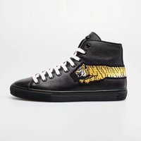 Wholesale inspiration white - Tiger Sticker Leather High Top Sports Shoes Flower Embroidery Wolf Head Men's Casual Sports Shoes Italian Creative Inspiration 38-45 Yards