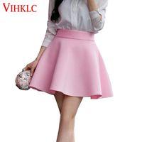 Wholesale flared mini skirt high waist - High Waist Pleat EleSkirt Green Black White Mini Flared Skirts Fashion Women Faldas Saia 5XL Plus Size Ladies Jupe B73