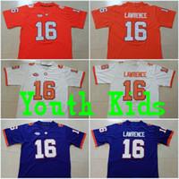 jerseys clemson al por mayor-Juventud # 16 Trevor Lawrence Niños Clemson # 13 Hunter Renfrow # 2 Kelly Bryant # 4 Deshaun Watson Orange Purple White College Stitched Jerseys