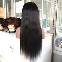 26 pulgadas de pelo trenzado al por mayor-22 pulgadas de aspecto natural 100% Virgen pelo brasileño peluca llena del cordón # 1B Color peluca llena del cordón Cabello humano torsión larga trenzada larga