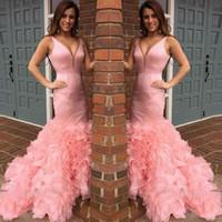 melocotón vestidos de cóctel al por mayor-Water Melon Organza Cascading Ruffles Prom Dresses 2018 Sexy Deep V Neck Mermaid Vestidos de noche Cóctel formal Party Gowns