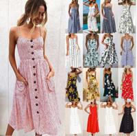 balançoire du soleil achat en gros de-Robe de bouton de vacances des femmes Boho Summer Beach Long Maxi Swing Sun Dress Robe de plage imprimé floral KKA5124
