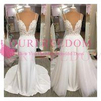 Wholesale new hot elegant bridal gown - 2018 New Elegant Spaghetti Straps Wedding Dresses Detachable Train Tulle Bridal Gown For Garden Beach Custom Made Hot Sale Cheap