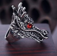 Wholesale red eye ring resale online - New hit nightclub popular jewelry domicile ring European retro animal red eye dragon man ring mix size to