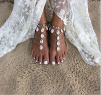 Wholesale bridal foot jewelry - Summer Shell Bridal Feet Ankle Bracelet Chain Beach Vacation Sexy Leg Chain Female Silver Anklet Foot Jewelry Chain Bridal Accessories