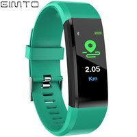 Wholesale silicone sport pedometer watch resale online - GIMTO Color Screen Smart Bracelet Sport Digital Bluetooth Watch Waterproof Heart Rate Fitness Tracker Pedometer For Android iOS
