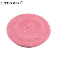 ingrosso cappello di lana rosa-BUTTERMERE Cappello berretto francese rosa Berretto piatto tweed di lana da donna Elegante perla berretto da donna