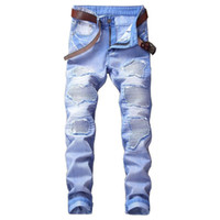 Wholesale jeans punk slim - Men's Distressed Motorcycle Biker Jeans VINTAGE Pleated Designer Pants Slim Fit Mens Moto Denim Hip Hop Punk Streetwear For Men 6#