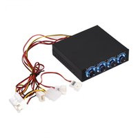 Wholesale Computer Fan Controllers - 4 Channel Computer Fan Speed and Temperature Controller Heat Reducing for PC with Blue LED