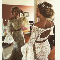 Wholesale two piece style wedding dresses - Country Style Two pieces Beach Wedding Dresses bohemian Lace Wedding Dress Mermaid Hollow Back Cheap poet long sleeves Bridal Gowns Backless