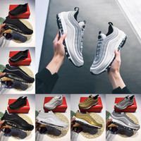 Wholesale Women X Sports - With Box Air 97 Running Shoes x Undefeated UNDFTD Gold Silver Bullet Triple white balck Metallic Mens women Casual Sports Sneakers Eur 36-46