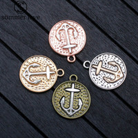 Wholesale bronze nautical - Summer Love nautical anchor charms for jewelry making diy jewelry accessories antique bronze silver handmade craft 20pcs lot
