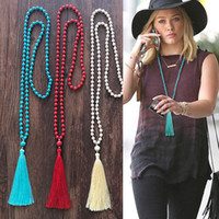 Wholesale red tassel jewelry for sale - Group buy New Tassel Necklace Bohemian Jewelry Color Women Turquoise Stone Beaded Chain Cotton Tassel Necklace Christams Gifts YF