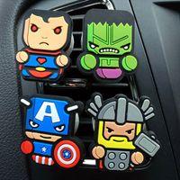 auto luz led china al por mayor-Ambientador de dibujos animados The Avengers Superman Ironman Stark Car Styling Perfume Marvel Style para aire acondicionado Vent 214