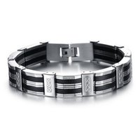 ingrosso braccialetti mescolano inossidabili-I migliori amici neri braccialetti realizzati in silicone mix bracciale in acciaio inossidabile uomo classico lusso uomo bracciali moda maschile gioielli